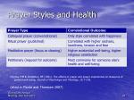 prayer styles and health