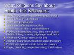 what religions say about health risk behaviors