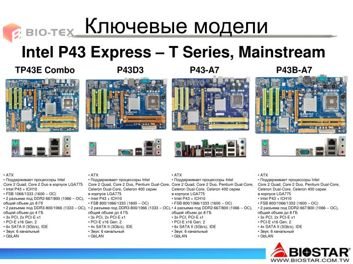 Intel P43 Express – T Series, Mainstream