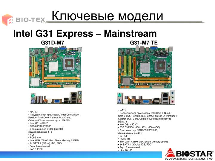 Intel G31 Express – Mainstream