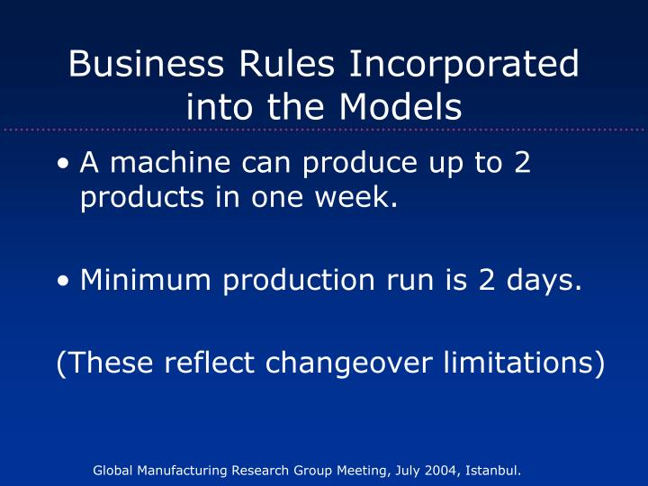 Business Rules Incorporated into the Models