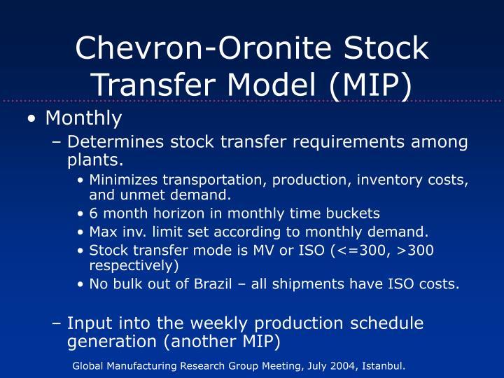 Chevron-Oronite Stock Transfer Model (MIP)