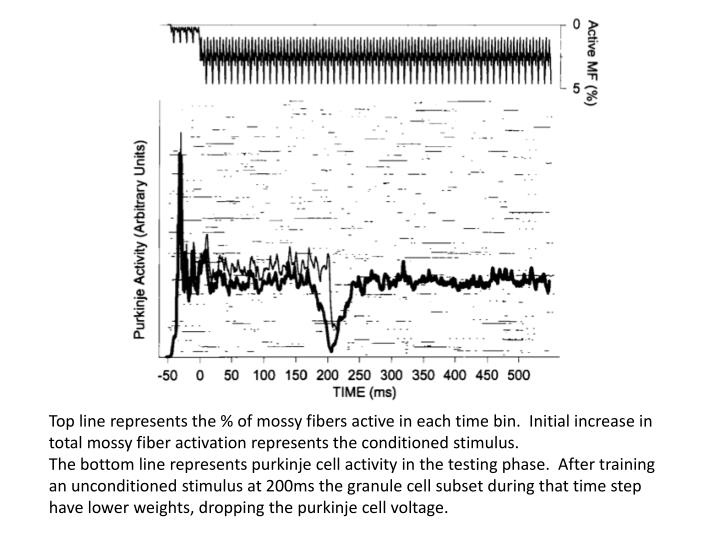 Top line represents the % of mossy fibers active in each time bin.  Initial increase in total mossy fiber activation represents the conditioned stimulus.