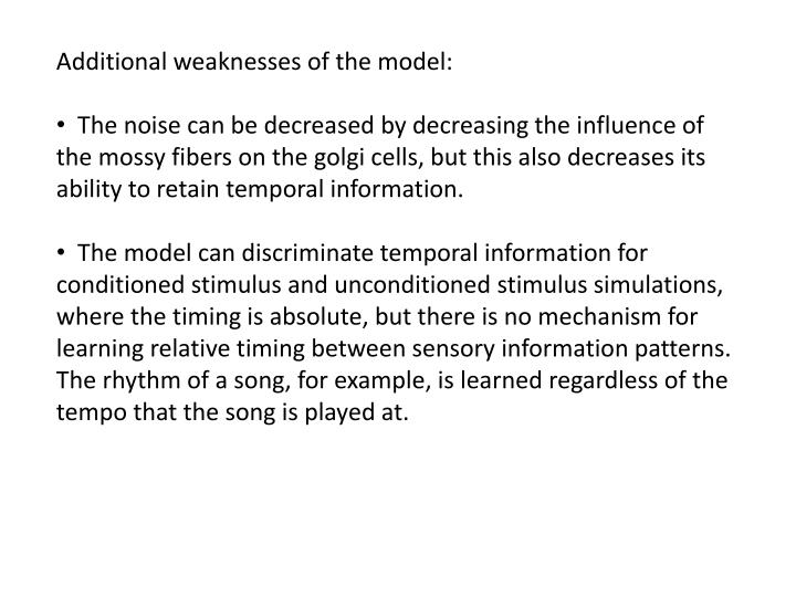 Additional weaknesses of the model: