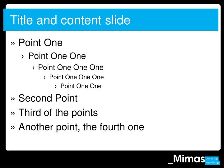 Title and content slide