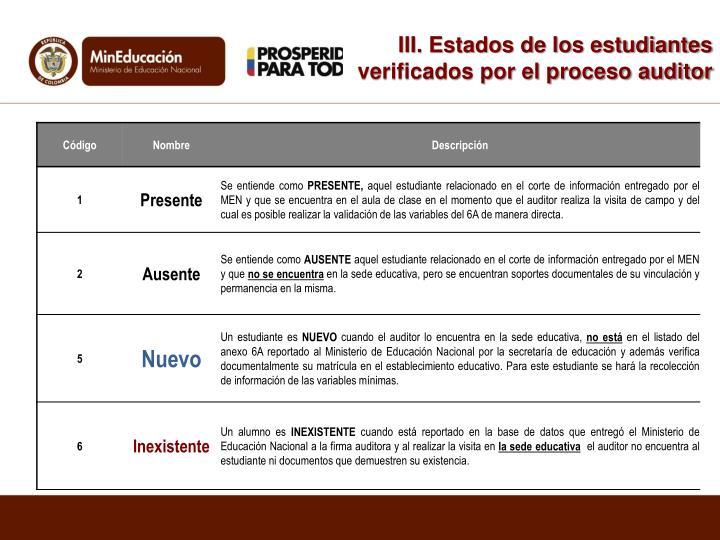III. Estados de los estudiantes verificados por el proceso auditor