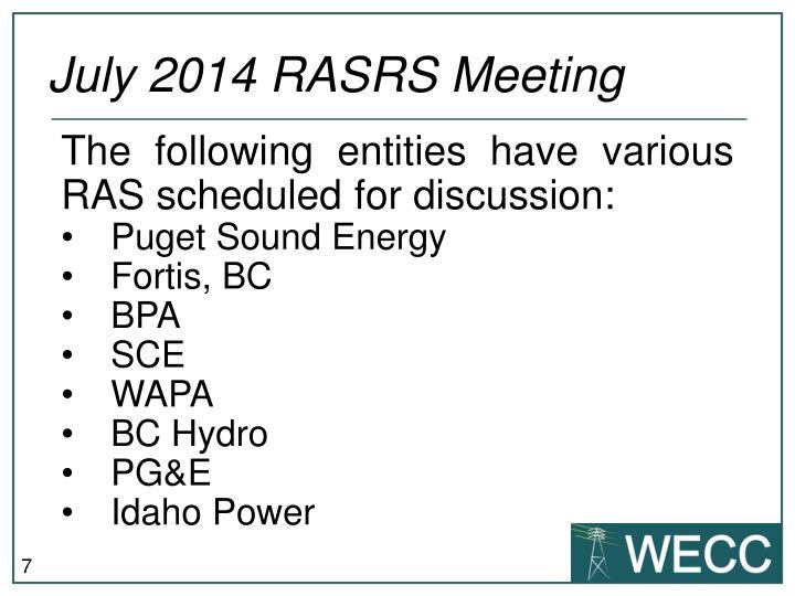 July 2014 RASRS Meeting