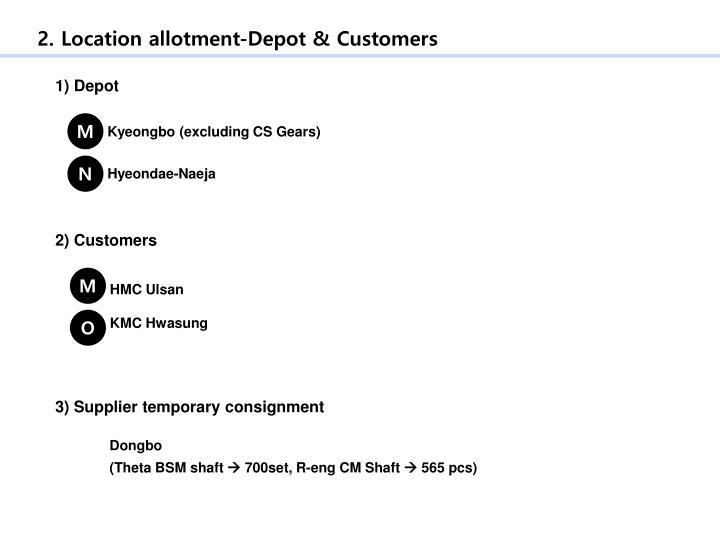 2. Location allotment-Depot & Customers