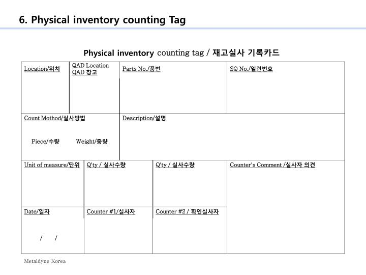 6. Physical inventory counting Tag
