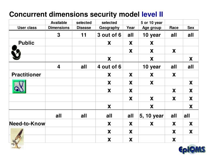 Concurrent dimensions security model
