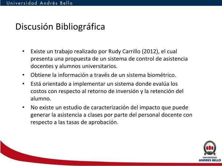 Discusión Bibliográfica