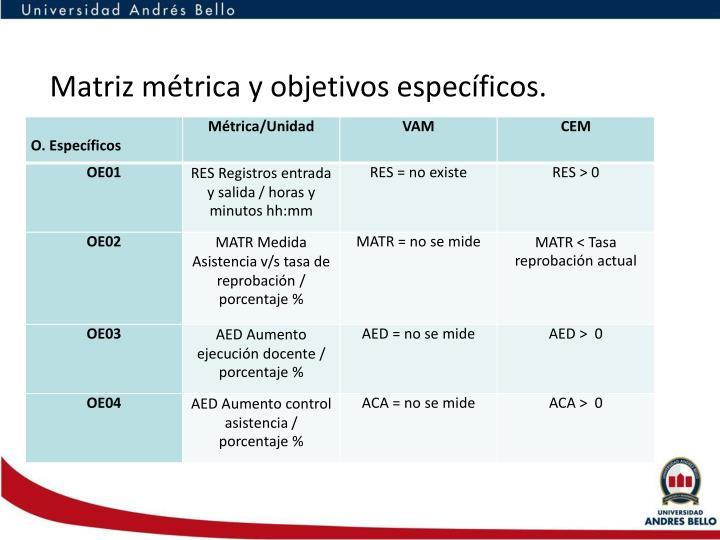 Matriz métrica y objetivos específicos.
