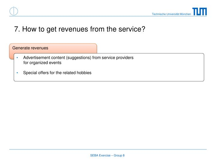7. How to get revenues from the service?