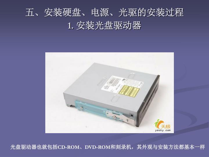 五、安装硬盘、电源、光驱的安装过程