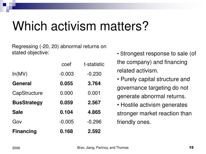 Which activism matters?