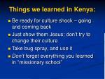 things we learned in kenya