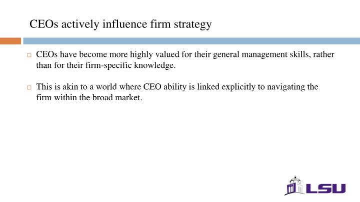CEOs actively influence firm strategy