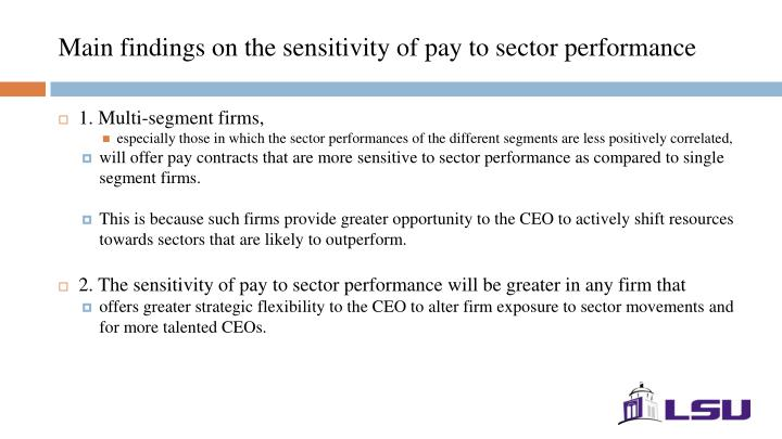 Main findings on the sensitivity of pay to sector performance