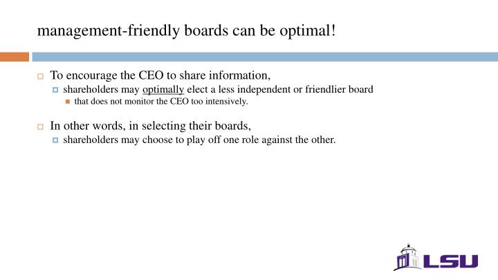 management-friendly boards can be optimal!