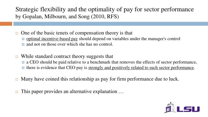 Strategic flexibility and the optimality of pay for sector performance