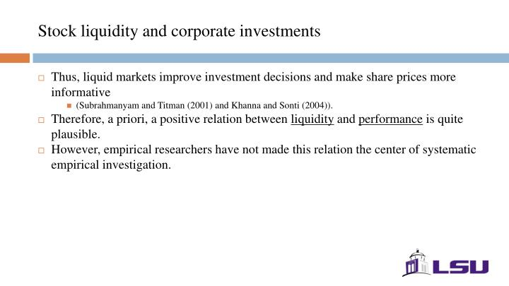 Stock liquidity and corporate investments