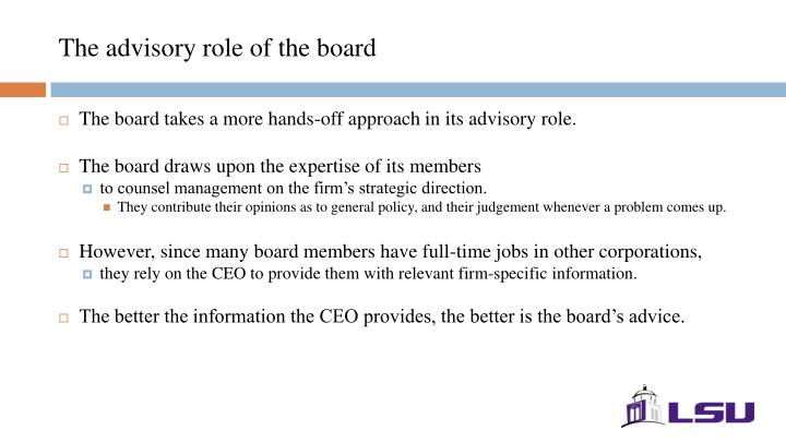 The advisory role of the board