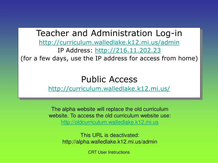 Teacher and Administration Log-in