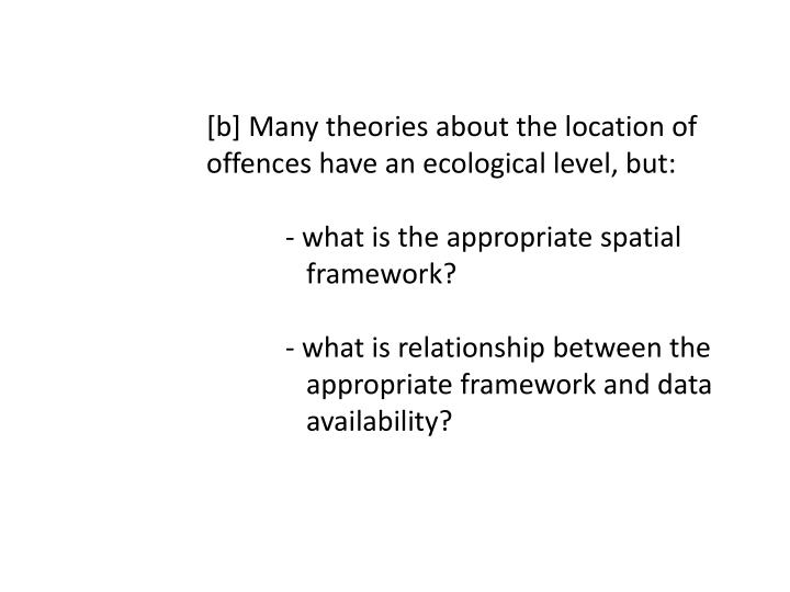 [b] Many theories about the location of 		offences have an ecological level, but: