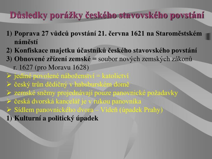 Důsledky porážky českého stavovského povstání