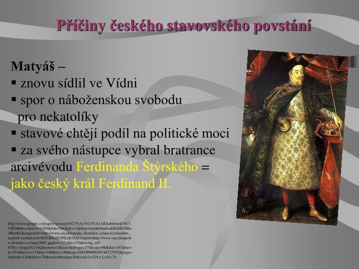 Příčiny českého stavovského povstání