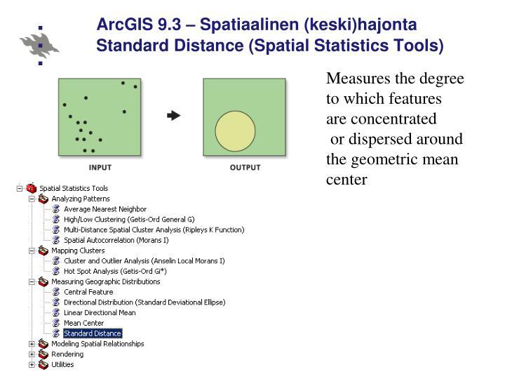 ArcGIS 9.3 – Spatiaalinen (keski)hajonta