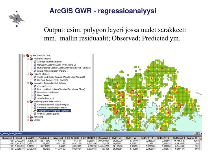 ArcGIS GWR - regressioanalyysi