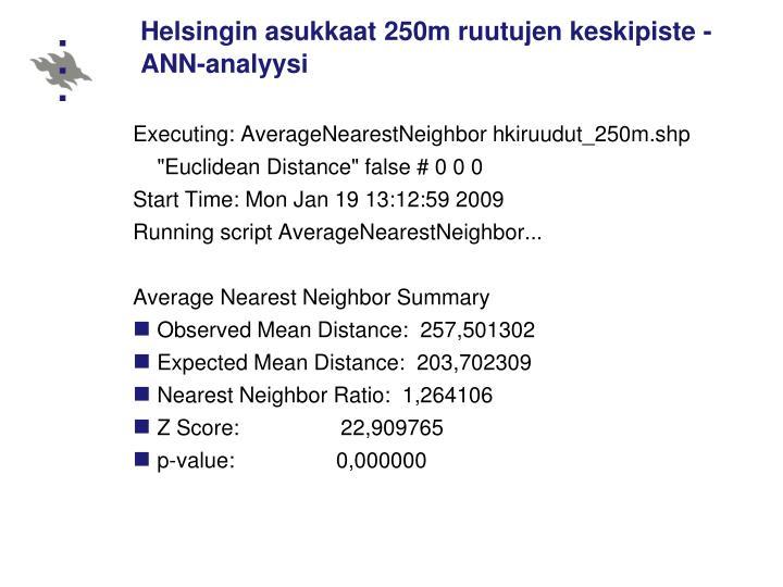 Helsingin asukkaat 250m ruutujen keskipiste -  ANN-analyysi