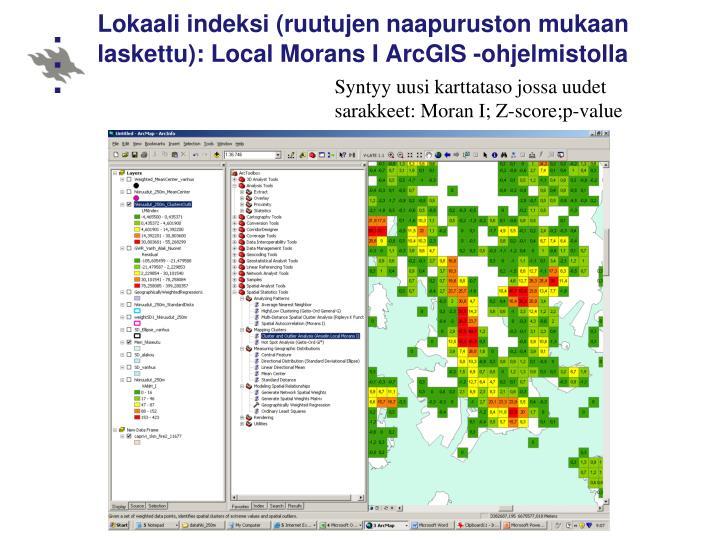 Lokaali indeksi (ruutujen naapuruston mukaan laskettu): Local Morans I ArcGIS -ohjelmistolla