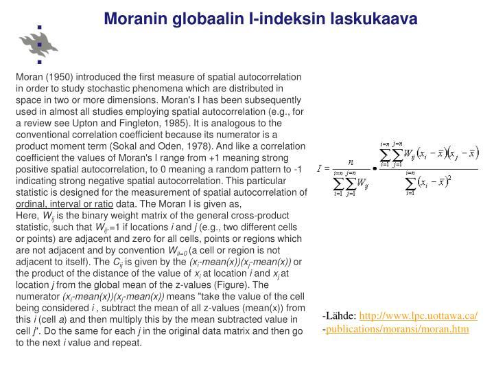 Moranin globaalin I-indeksin laskukaava