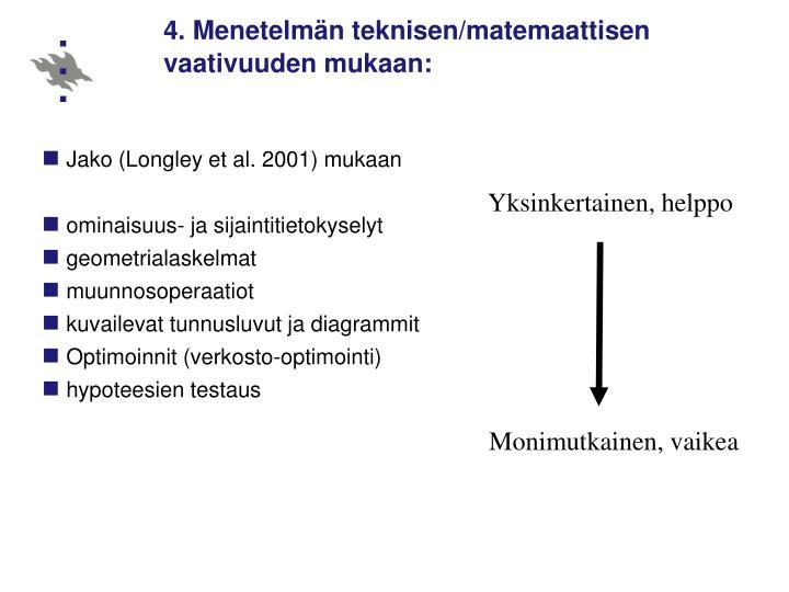 4. Menetelmän teknisen/matemaattisen vaativuuden mukaan:
