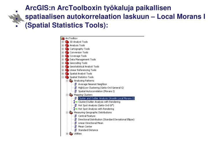 ArcGIS:n ArcToolboxin työkaluja paikallisen spatiaalisen autokorrelaation laskuun – Local Morans I (Spatial Statistics Tools):