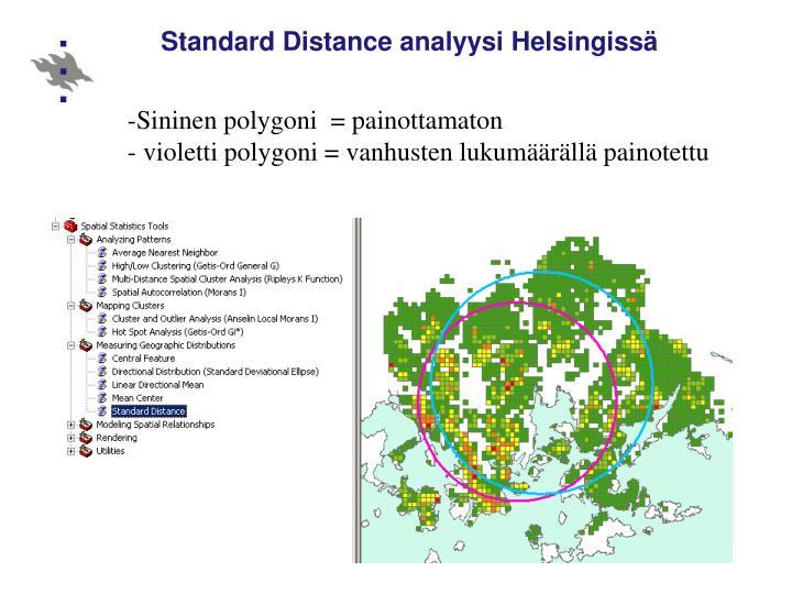 Standard Distance analyysi Helsingissä