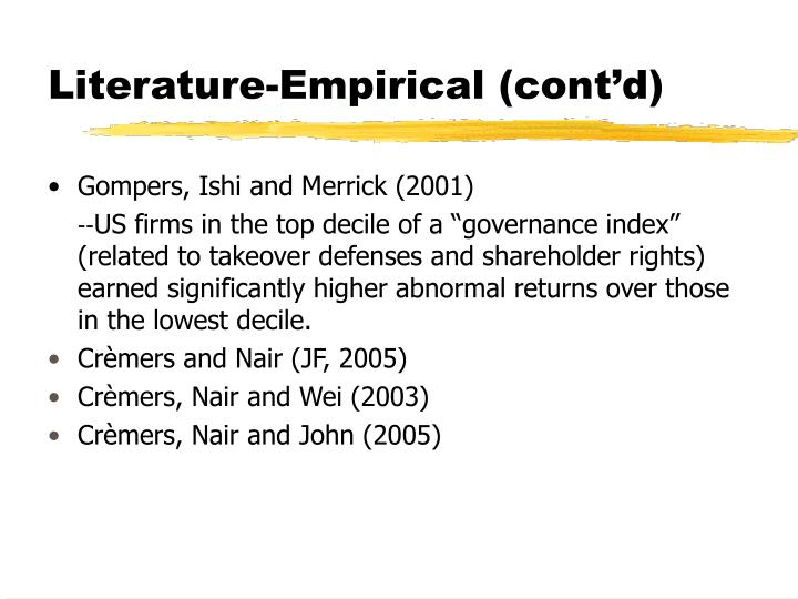 Literature-Empirical (cont'd)