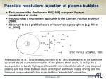 possible resolution injection of plasma bubbles