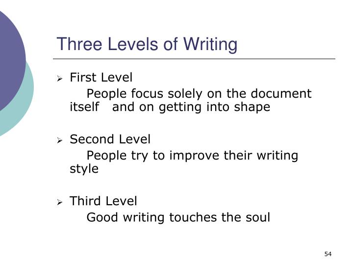 Three Levels of Writing