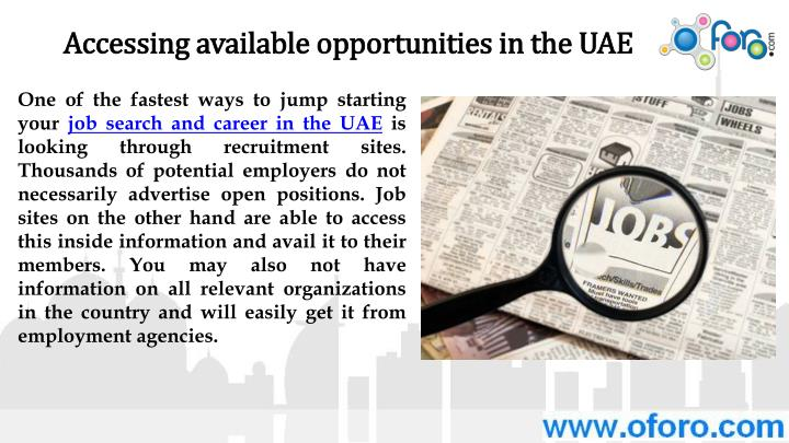 Accessing available opportunities in the UAE