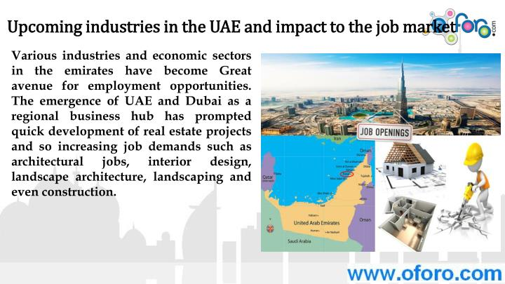 Upcoming industries in the UAE and impact to the job market