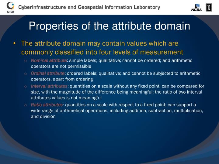 Properties of the attribute domain