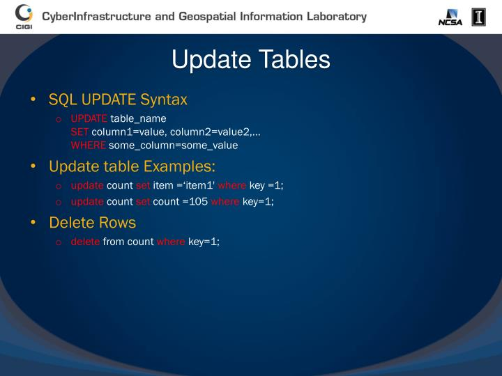 Update Tables