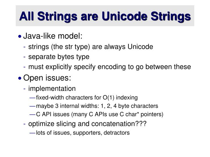 All Strings are Unicode Strings