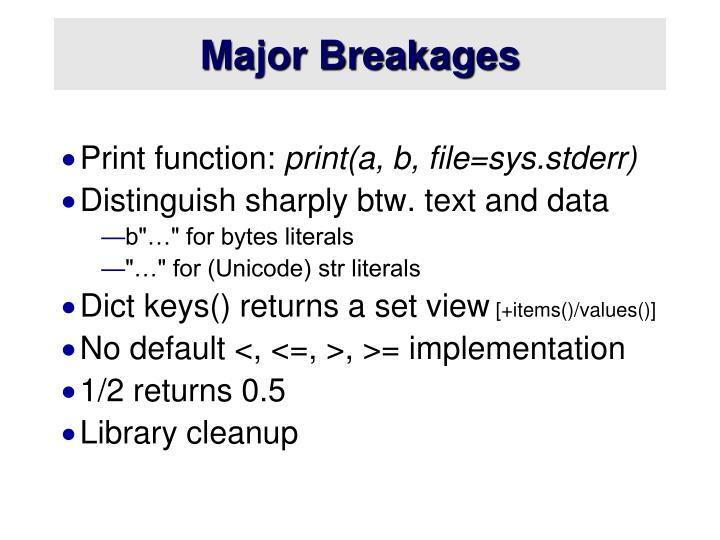 Major Breakages