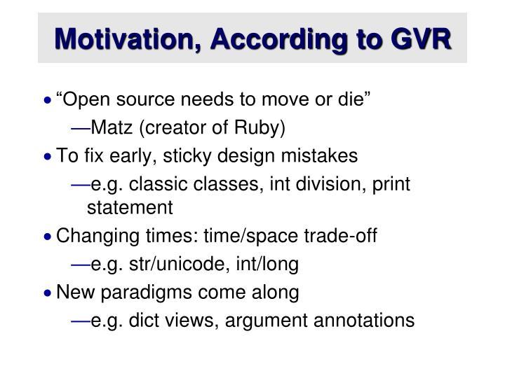 Motivation, According to GVR