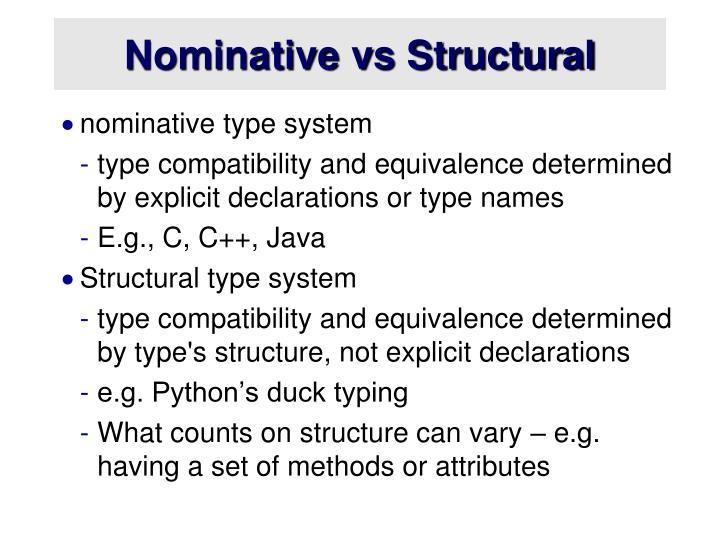 Nominative vs Structural