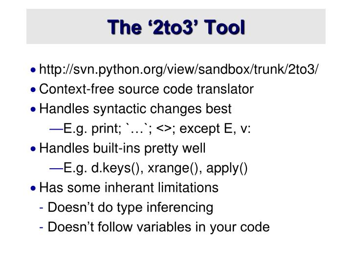 The '2to3' Tool